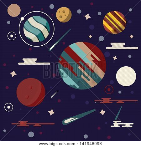 Planets in space vector illustration. Abstract planets icon in flat style. Planets galaxy on dark background. Comets stars meteors and other universe symbols.