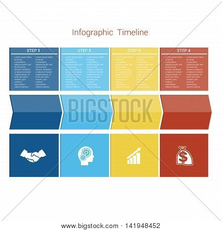 Template Timeline Infographic colored arrows numbered for four position