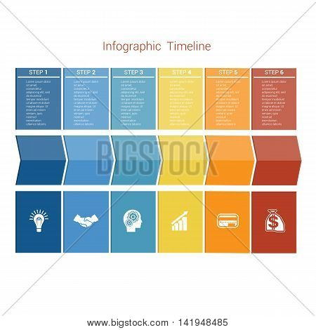 Template Timeline Infographic colored arrows numbered for six position