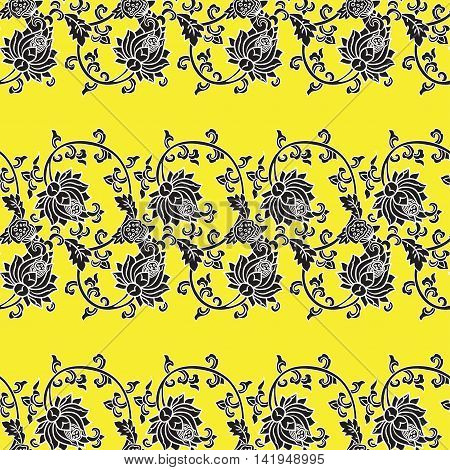 Chinese traditonal seamless pattern with flowers on yellow background. Vector design for textile, wallpaper, fabric, packaging, covers and others