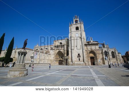 PALENCIA SPAIN - JULY 10 2016: Palencia Cathedral (Catedral de san Antolin) popularly known as the unknown beauty in Palencia a city in Castile and Leon northwest Spain