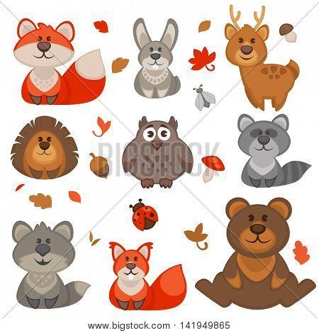 Set of cute cartoon forest animals. Vector Illustration.