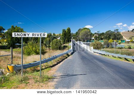The iconic Dalgety Bridge built in 1888 serves as an important crossing over the Snowy River in New South Wales, Australia