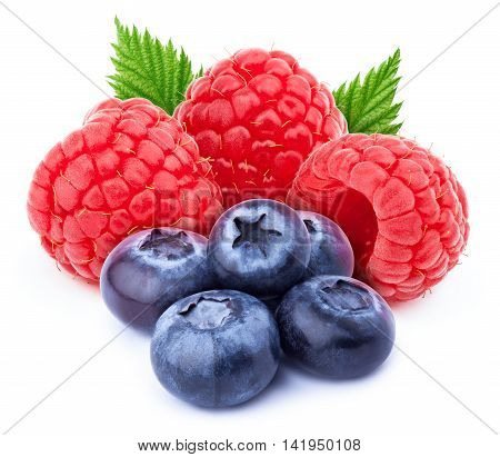 Three ripe raspberries with green leaves and five blueberries isolated on white background with clipping path