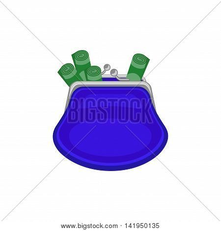 Wallet with cash money. Cash payment. Purse with banknotes. Vector icon isolated on a white background. Flat design.