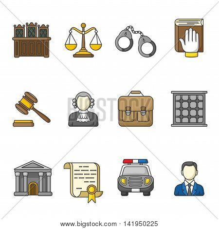 Set of law and justice icons. Colorful outlined icon collection. Judicial system concept. The judge, lawyer, scales, handcuffs, gavel, briefcase, court document, police car, prison grill. Vector.