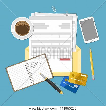 Concept of tax payment and invoice. Open envelope with tax bills, invoices. Bank credit cards, notebook with records, smartphone, pen, pencil and coffee cup. Vector illustration.