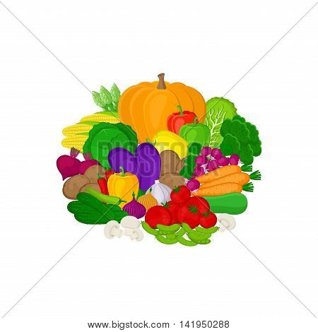 Set of fresh colorful vegetables isolated on white background. Healthy organic eating concept. Fresh healthy vitamin vegetables from the farm.