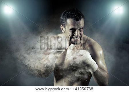 Boxer around splash drops in action.