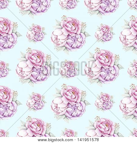 Watercolor illustration of hand painted seamless peonies pattern