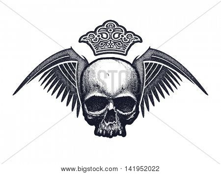 Black and white human skull with wings and crown. Hand drawn vector illustration