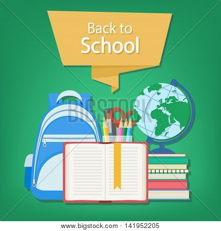 Back to school text on the banner. Open book with a bookmark and school supplies such as a backpack, textbooks, notebook, globe, stationery set. Flat Style Education Concept. Vector illustration.
