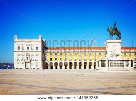 Commerce square - Praca do Comercio - at sunny day, Lisbon, Portugal, retro toned