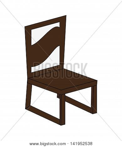 flat design single chair icon vector illustration