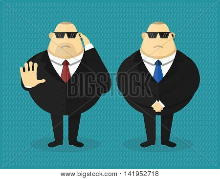 Big security guard character vector flat illustration