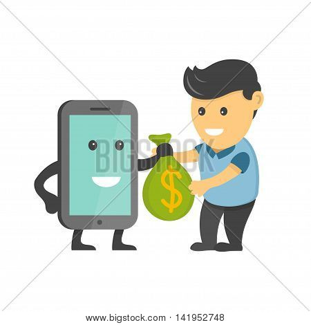 Business Concept Flat  Cartoon Illustration Smartphone Character Earning Money