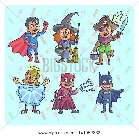 Happy halloween. Set of cartoon cute children in different costumes batman, witch, angel, devil superman and pirate. Vector Illustration.
