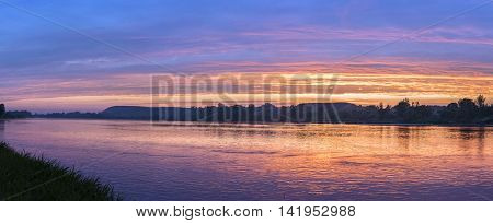 Panorama of Vistula river during sundown in Kazimierz Dolny Poland