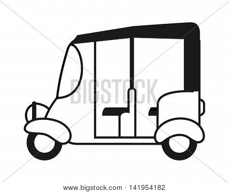 flat design rickshaw or tuk tuk icon vector illustration