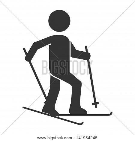 ski board skiing, isolated flat icon design