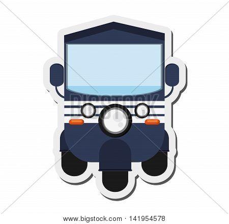 flat design blue rickshaw or tuk tuk icon vector illustration