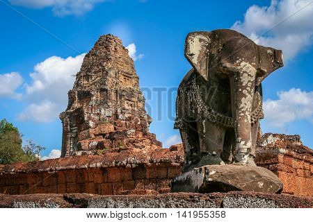 Elephant sculpture in East Mebon temple in the Angkor complex, Cambodia