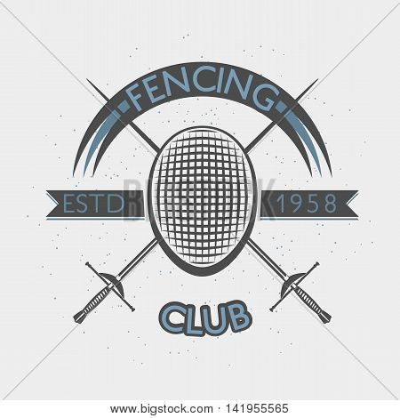 Fencing club badge illustration with foil and fencing mask. Sport vintage crest. Vector retro style sport label using for print or web
