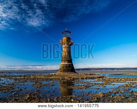 The Iron Lighthouse, Whiteford Sands, The Gower, Swansea The last Iron Lighthouse in Europe.