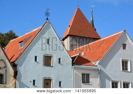 TALLINN ESTONIA 09 25 2015: Beautiful colorful buildings of Town Hall Square. Old Town is listed in the UNESCO World Heritage List