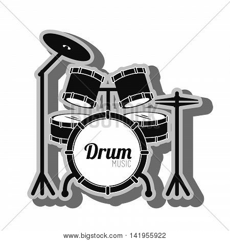 Music instrument battery drum isolated flat icon graphic design