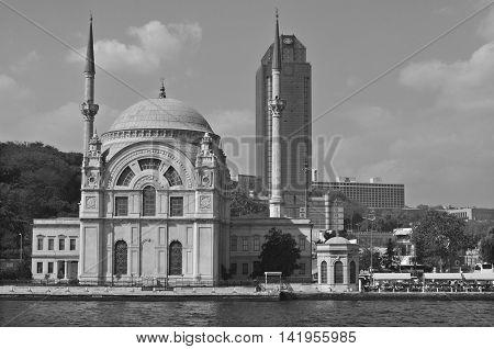 ISTANBUL TURKEY OCTOBER 3: Ortakoy Mosque, officially the Buyuk Mecidiye Camii (Grand Imperial Mosque of Sultan Abdulmecid) on october 3 2013 in Istanbul, Turkey