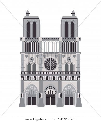flat design notre dame de paris icon vector illustration