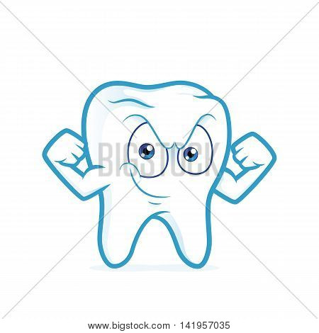 Clipart picture of a strong tooth cartoon character flexing his arm