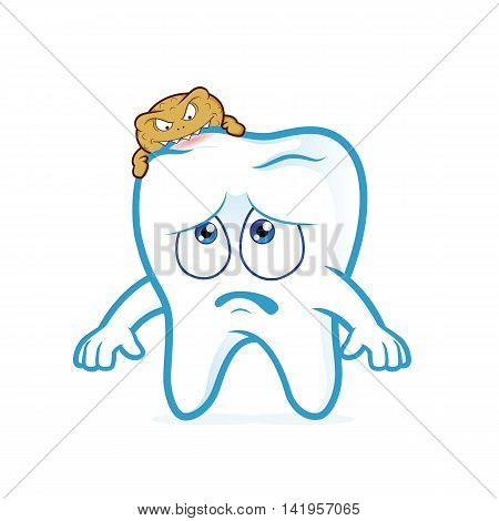 Clipart picture of a tooth cartoon character attacked by germs of caries