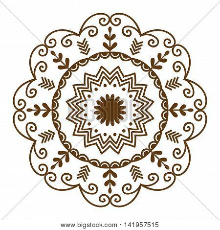 Hand drawn henna abstract mandala pattern flowers and paisley doodle coloring page. Henna decorative mandala pattern ethnic flower. Decoration mandala pattern ornament floral indian design.