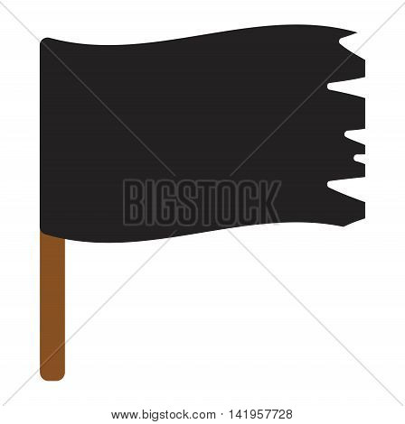 Jolly roger vector flag cartoon, horror dead scary wind symbol. Black roger jolly evil death danger pirate flag warning sign. Retro torn traditional pirate flag treasure dark design.