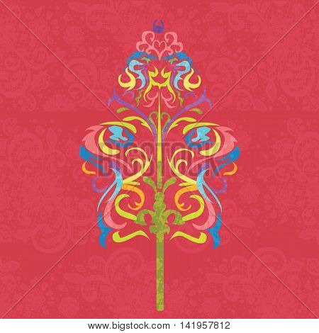wayang traditional art pattern floral decorative color full vector