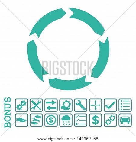 Circulation icon with bonus pictograms. Vector style is flat iconic symbol, cobalt and cyan colors, white background. Bonus style is bicolor square rounded frames with symbols inside.