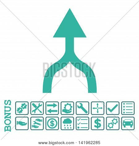 Combine Arrow Up icon with bonus pictograms. Vector style is flat iconic symbol, cobalt and cyan colors, white background. Bonus style is bicolor square rounded frames with symbols inside.