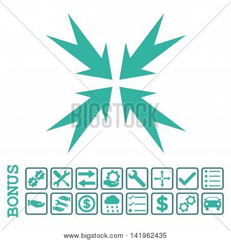 Compression Arrows icon with bonus pictograms. Vector style is flat iconic symbol, cobalt and cyan colors, white background. Bonus style is bicolor square rounded frames with symbols inside.