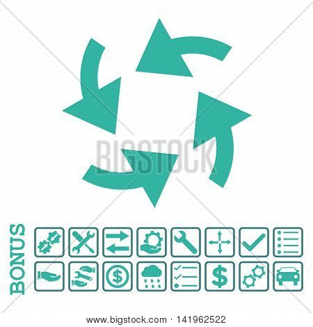 Cyclone Arrows icon with bonus pictograms. Vector style is flat iconic symbol, cobalt and cyan colors, white background. Bonus style is bicolor square rounded frames with symbols inside.