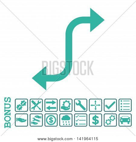 Opposite Bend Arrow icon with bonus pictograms. Vector style is flat iconic symbol, cobalt and cyan colors, white background. Bonus style is bicolor square rounded frames with symbols inside.
