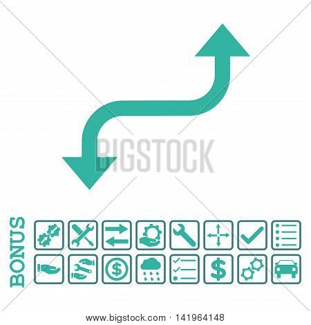 Opposite Curved Arrow icon with bonus pictograms. Vector style is flat iconic symbol, cobalt and cyan colors, white background. Bonus style is bicolor square rounded frames with symbols inside.