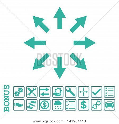 Radial Arrows icon with bonus pictograms. Vector style is flat iconic symbol, cobalt and cyan colors, white background. Bonus style is bicolor square rounded frames with symbols inside.