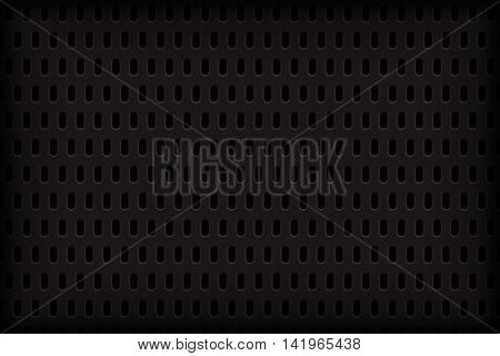 Dark metal honeycomb structure with a circular vertical apertures.