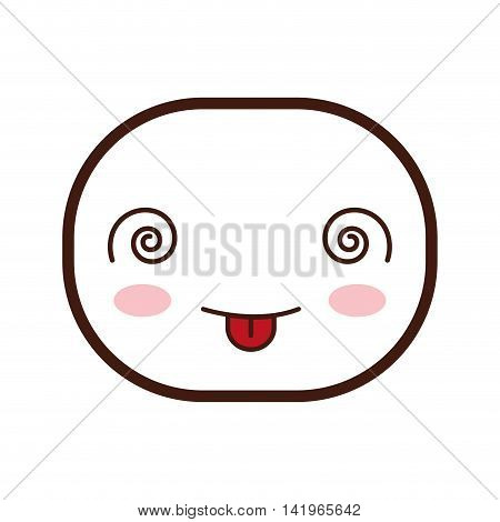 kawaii crazy oval face cartoon expression icon. Isolated and flat illustration. Vector graphic