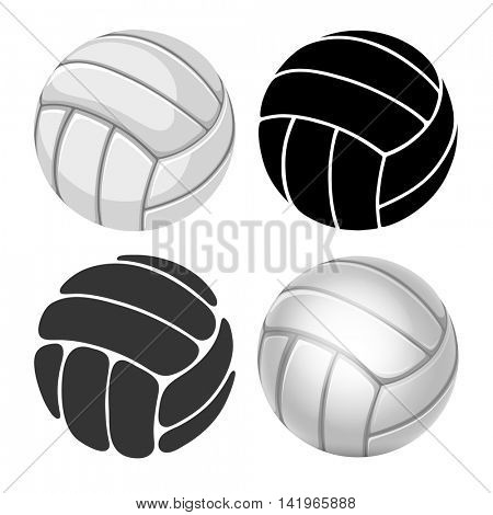 Volleyball Balls set. Sports equipment. Realistic and stylized Vector Illustration. Isolated on White Background.