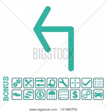 Turn Left icon with bonus pictograms. Vector style is flat iconic symbol, cobalt and cyan colors, white background. Bonus style is bicolor square rounded frames with symbols inside.