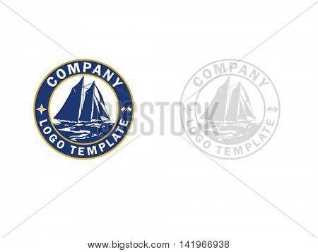 Logo template with old sail ship on the sea in a circle