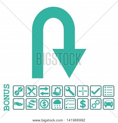 U Turn icon with bonus pictograms. Vector style is flat iconic symbol, cobalt and cyan colors, white background. Bonus style is bicolor square rounded frames with symbols inside.